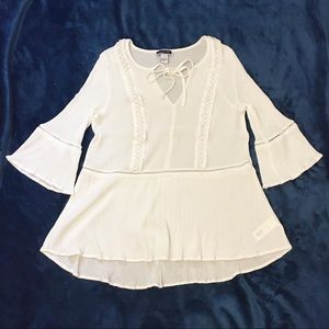 Another Story White Boho Bell-Sleeve Blouse